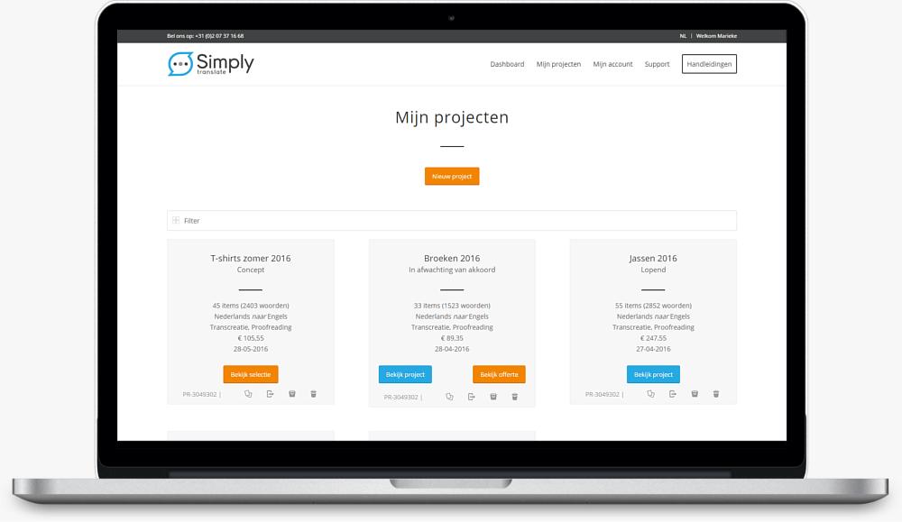 simply translate platform projectoverzicht